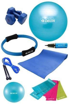 Delta Delta PTS 65 cm Pilates Topu Çemberi 4 mm Minder 2 kg Dambıl Seti 0
