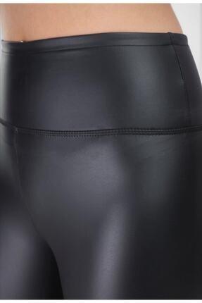BEAUTY BOUTIQUE Kadın Siyah Mat Deri Içi Şardonlu Geniş Kemer Yüksek Bel Toparlayıcı Tayt 3