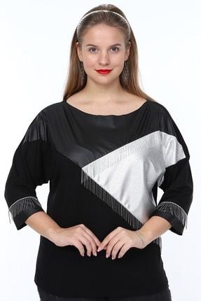 MJORA Kadın Siyah Deri Detaylı Zincir Saçaklı Bluz 0