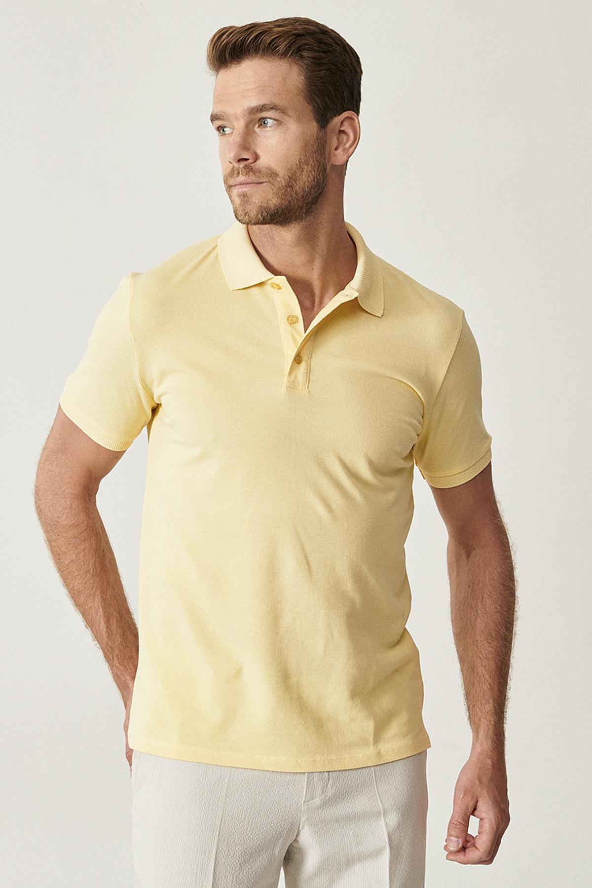 Erkek Sarı Polo Yaka Cepsiz Slim Fit Dar Kesim %100 Koton Düz Tişört