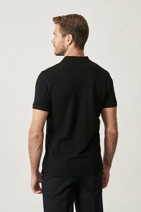Altınyıldız Classics Erkek Siyah Polo Yaka Cepsiz Slim Fit Dar Kesim %100 Koton Düz Tişört 3