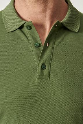 Altınyıldız Classics 2 Al Sepette Ek %15 İndirim Haki Polo Yaka Cepsiz Slim Fit Dar Kesim %100 Koton Düz Tişört 1
