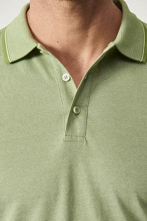 Altınyıldız Classics Erkek Yeşil Düğmeli Polo Yaka Cepsiz Slim Fit Dar Kesim Düz Tişört 1