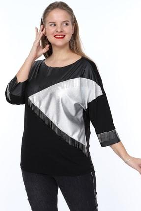 MJORA Kadın Siyah Deri Detaylı Zincir Saçaklı Bluz 3