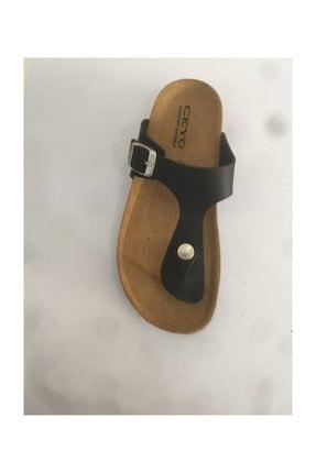 9910-f8 Siyah Unisex Çocuk Parmak Arası Mantar&deri Taban Anatomik Sandalet PRA-1179899-883431