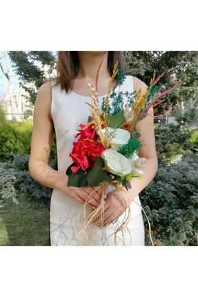 Nevin Bütün Gelin Buketi Kırmızı Beyaz Damat Yaka Çiçeği Ikili Set 1