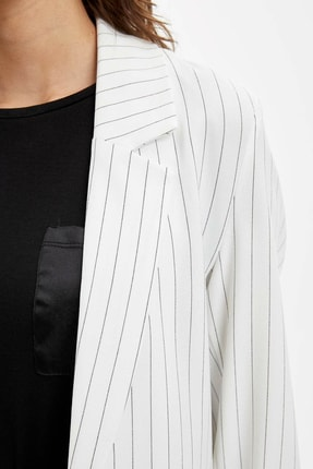 Defacto Kadın Beyaz Regular Fit Blazer Ceket N3733AZ.20SP.WT34 3