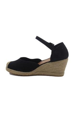 GokceKundura06 Dolgu Topuk Hasır & Keten Sandalet 2