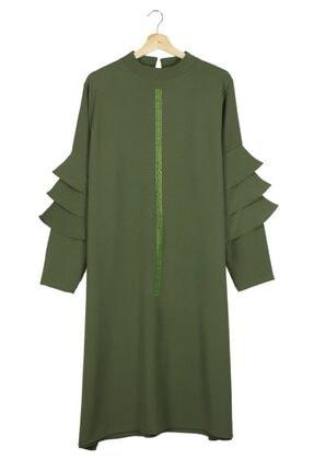 Kadın Yeşil Krep Tunik 44 Beden MEGMODA-38668