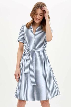 Defacto Kadın Mavi Regular Fit Çizgili Dokuma Elbise N0545AZ.20SP.BE399 2