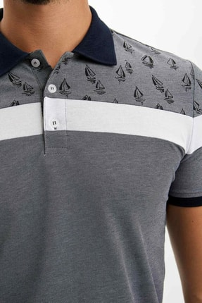 Defacto Erkek Çivit Mavisi Slim Fit Polo T-shirt M8179AZ.20SP.IN120 3