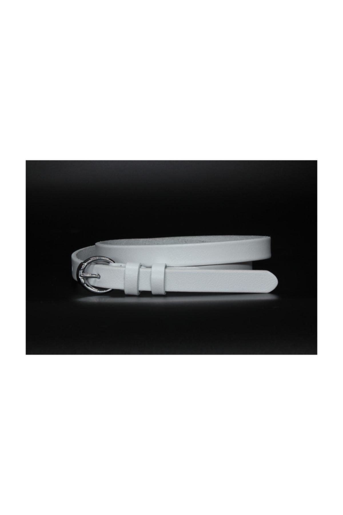 Deri Beyaz Kadın Kemeri 2cm