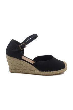 GokceKundura06 Dolgu Topuk Hasır & Keten Sandalet 1