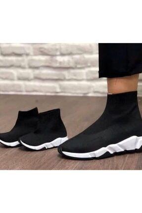 MİRKET Kadın Siyah Çoraplı Beyaz Taban Sneakers Ayakkabı 1
