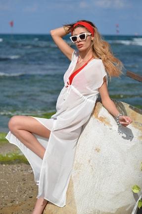 Pembe Deniz Uzun Klasik Beyaz Pareo 1