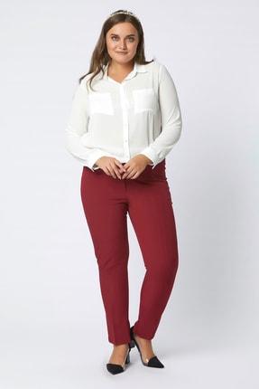 Büyük Moda Kadın Bordo Dar Paça Likralı Pantolon 2149 1