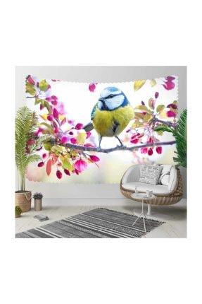 Else Halı Else Pembe Çiçekli Dal Renkli Kuş 3d Kumaş Dekoratif Duvar Örtüsü 140x140cm 0