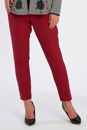 Büyük Moda Kadın Bordo Dar Paça Likralı Pantolon 2149 4