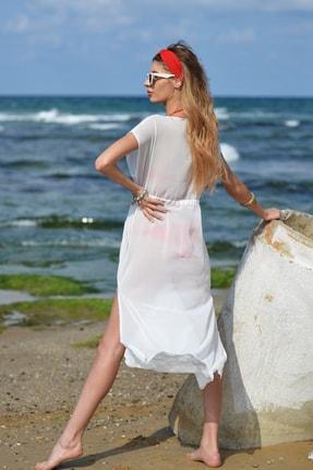Pembe Deniz Uzun Klasik Beyaz Pareo 2