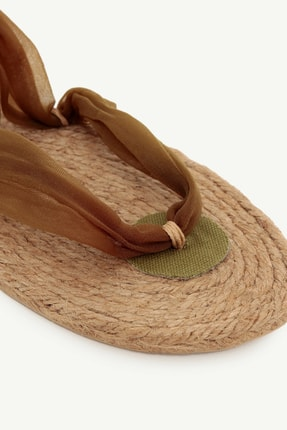 Yargıcı Kadın Haki Jut Tabanlı Kumaş Sandalet 0YKAY4009X 1