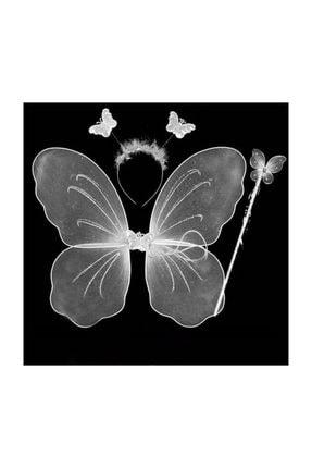 Pandoli Beyaz Renk Kelebek Kanat Set 50 cm Kanat Asa Taç 3 Lü Set 0