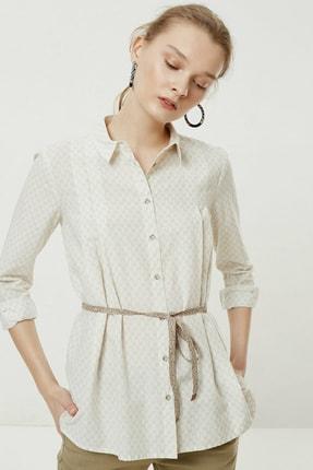 Yargıcı Kadın Bej Desenli Kemer Detaylı Gömlek 0YKGM6152X 2