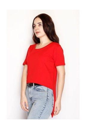 Lukas Yırtmaçlı Penye Tunik Tişört Kırmızı - 1063.275. 1