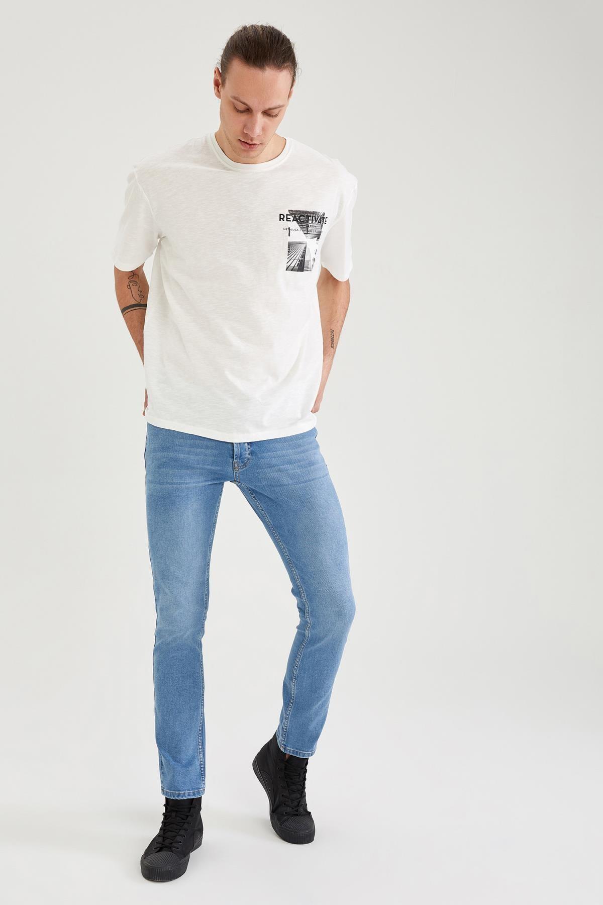 Defacto Pedro Slim Fit Normal Bel Dar Paça Jean Pantolon 3