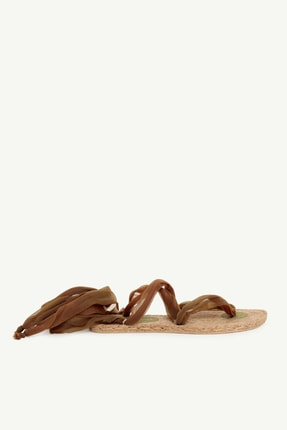 Yargıcı Kadın Haki Jut Tabanlı Kumaş Sandalet 0YKAY4009X 0
