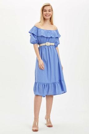 Defacto Kadın Mavi Desenli Regular Fit Elbise R1379AZ.20SP.BE1 2