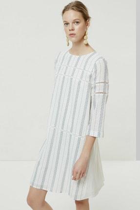 Yargıcı Kadın Lacivert Desenli Biye Detaylı Uzun Kollu Elbise 0YKEL7140X 0