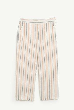 Yargıcı Kadın Turuncu Çizgili Düğme Detaylı Pantolon 0YKPN3113X 1