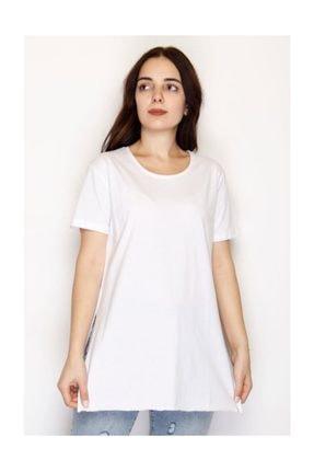 Lukas Yırtmaçlı Penye Tunik Tişört Beyaz - 1063.275. 0