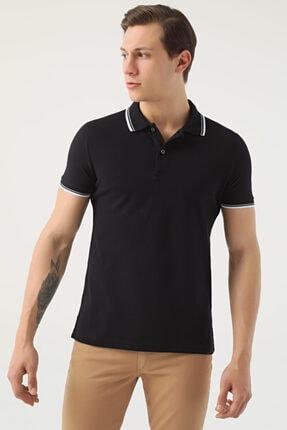 D'S Damat Erkek Siyah Slim Fit Pike Dokulu T-shirt 0