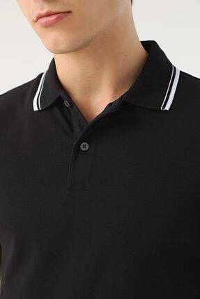 D'S Damat Erkek Siyah Slim Fit Pike Dokulu T-shirt 3