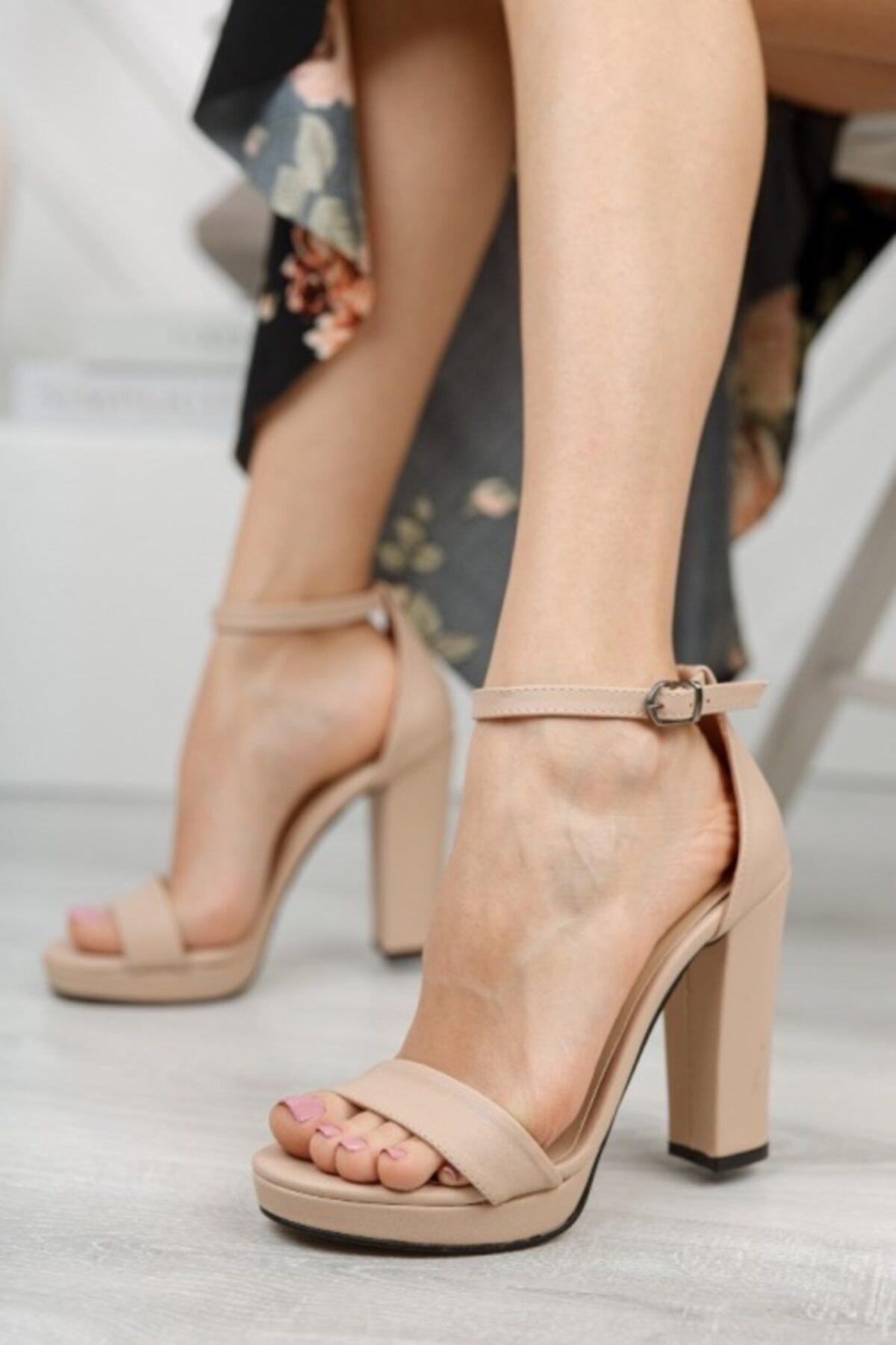 Kadın Ten Cilt Yüksek Topuk Platform Ayakkabı
