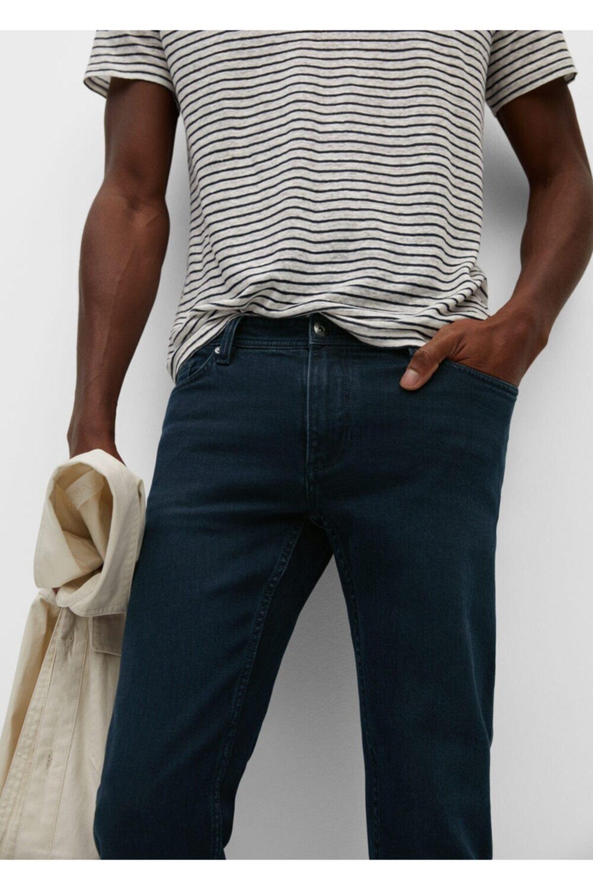 Mango Erkek Lacivert Dar Kesim Koyu Yıkama Jan Jean Pantolon