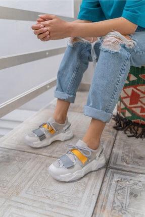 Brecka Kadin Beyaz Sari Sneakers 34781