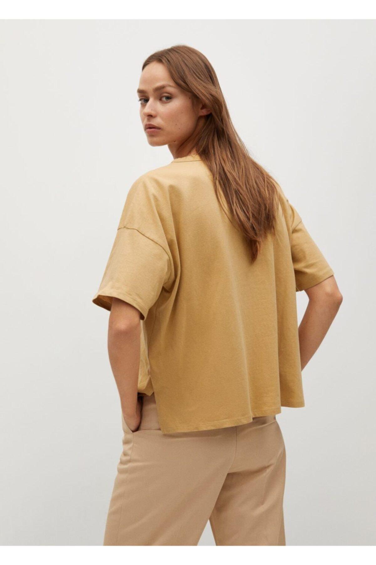 Mango Kadın Kahverengi Organik Pamuklu Tişört