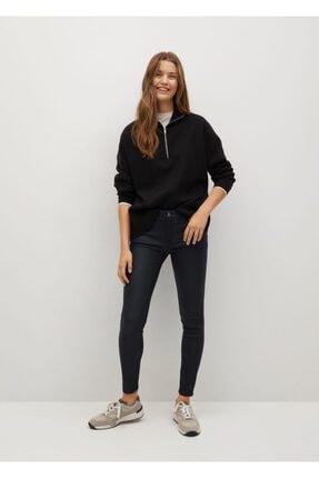 Mango Kadın Siyah Deri Görünümlü Skinny Push-Up Jean Pantolon 1