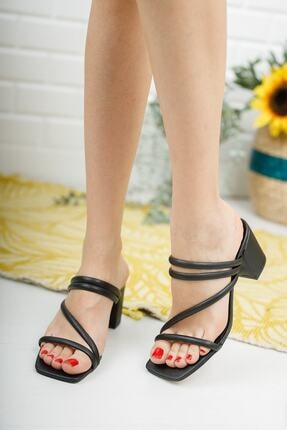 meyra'nın ayakkabıları Kadın Siyah Çapraz Topuklu Terlik 1