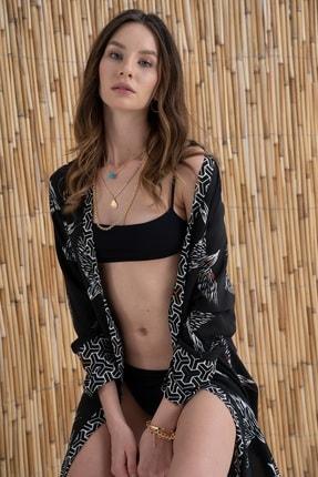 Rossa İntimo Kadın Kuş Desenli Siyah Kimono & Kaftan 2