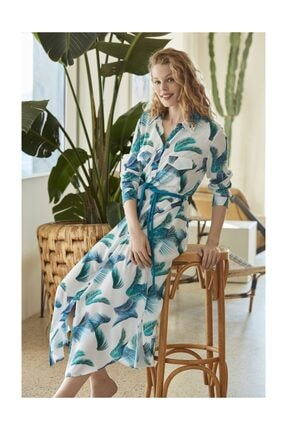 Penye Mood Kadın Desenli Elbise PM8549-TURKUAZ-M 0