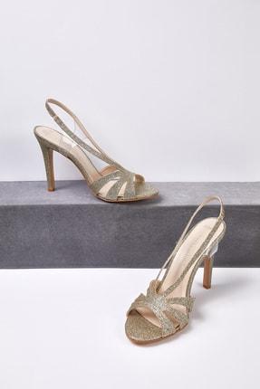 Picture of Kadın Altın Rengi Taşlı Topuklu Abiye Ayakkabısı CHARLIZE