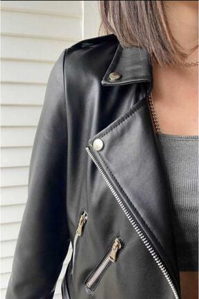 Crep Tekstil Kadın Deri Ceket 2