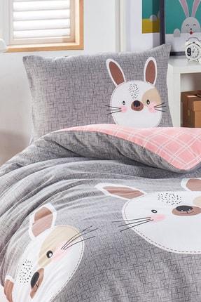 Ev & Ev Home Junior Nevresim Seti Tek Kişilik Tavşancık A.Kahve-Gri-Pembe 1