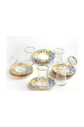 Morocco Porselen Tabak Cam Çaytakımı Seti YGC-42942