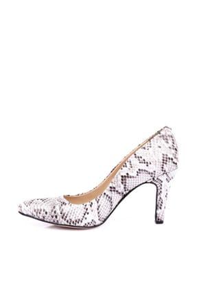 Dgn Beyaz Yılan Kadın Klasik Topuklu Ayakkabı 200-148 2