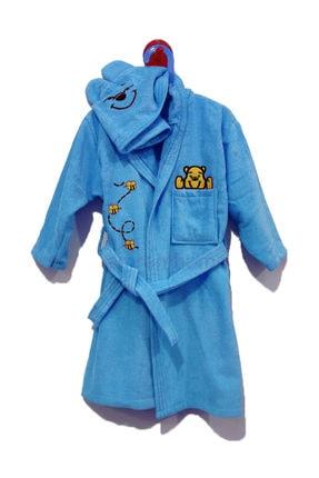 Emrem Home 5 - 6 Yaş Çocuk Bornozu / Baumwolle Robe Kapşonlu Kadife Nakışlı Mavi 0