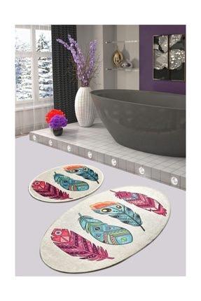 Chilai Home Feather Djt 2 Lı Set Banyo Halısı, Paspas Kaymaz Tabanlı 0